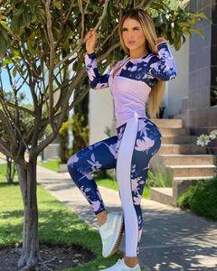 Patrón de flores de moda para mujer con trajes de franjas 2020 Leggings de chaqueta de otoño para al por mayor Conjuntos de 2 piezas de moda