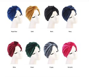 New Fashion Women Turban Indian Caps Caps Celeb Style Neon Fascia Vintage Doppio stretch Velvet Velvet Headwrap turbante