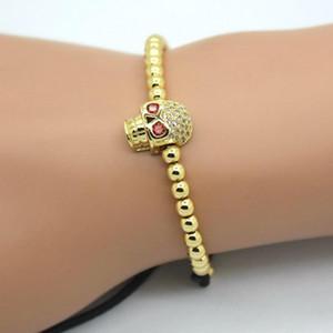 Hot Design Men Bracelets Micro Pave CZ Braided Macrame Charm Bracelets Men Beads Jewelry Gift fit watch