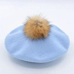 Cokk Winter Hats For Women Wool Beret With Real Raccoon Fur Pompom Hat Lady Girls Beret Cap Soft Warm Boina Feminina Swy sqcQCG