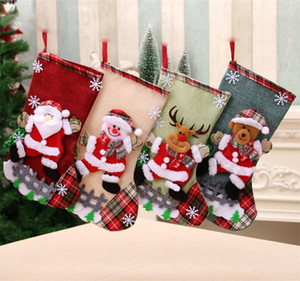 Christmas Large Stockings Snowman Santa Claus Candy Gift Bags Holders Xmas Socks Hanging Ornaments Christmas Decorations DB302