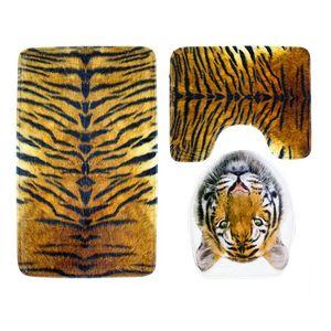 Tiger Leopard Printed Bath Mat in the Bathroom HomeDecoration Carpet Set for Toilet Seat Cushion Waterproof Foot Mat Set