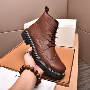 2021 Maschio Genuine Pelle Lace Up Martin Boots Uomo High Top Brand Business Business Perfect Motorcycle Stivaletti Dimensioni 38-44