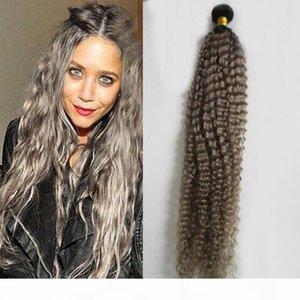 T1B Gray ombre grey hair weave mongolian kinky curly hair grey curly bundles 100g grey kinky weave hair 1PCS double weftno tangle free