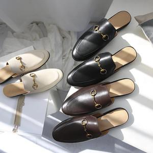 Venta al por mayor Princetown zapatillas mujer caja bolsa de polvo moda millas zapatillas gg gamer mocasines mujer cuero genuino zapatillas plana zapatillas hombre uníisón