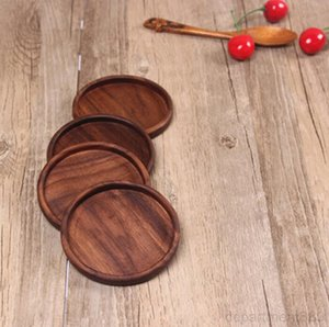 Wood Black Walnut Wooden Bowl Pad Coffee Tea Cup Mats Teapot Drink Coasters Teacup Home Decor Accessories 4 Styles DHB3007
