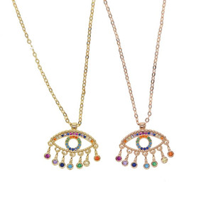 drop shipping colorful cz drop charm Gold filled turkish evil eye lucky necklace rainbow cz stone delicate sparking jewelry