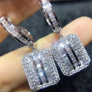 2020 Original 925 sterling silver Square Diamond Dangle Earring Jewelry Luxury Party Wedding Drop Earrings for Women Bridal Gift Z1128