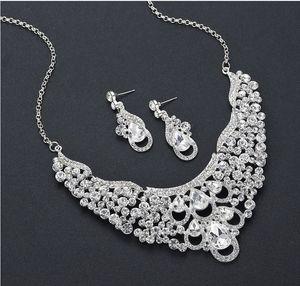 cool up-market fashion Luxury party diamond crystal zircon bride wedding lady's set necklace earings
