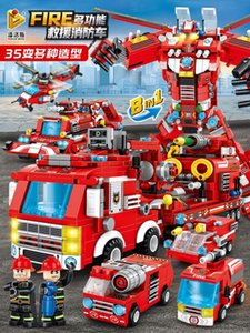 Деформация Fire Engineering автомобиль King Kong Robot Toy Boy Plane Pank Tank Model Mell Particle Block Block Assembly
