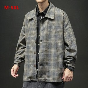 Mens Bomber jackets Men's Winter Fashion Retro Checked Jackets Large Size Outwear Tops Coat Blouse Windbreaker jaqueta masculina
