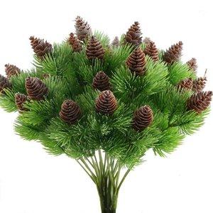 Декоративные цветы венки 4 шт. Поддельные кедровые сосновые ветви с искусственными конусами пластиковые кустарники из искусственных зелень кустарников таблица центральный