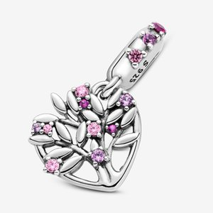 New style 925 sterling silver pink hollow heart-shaped family tree pendant charm beads suitable for Pandora bracelet charm DIY jewelry