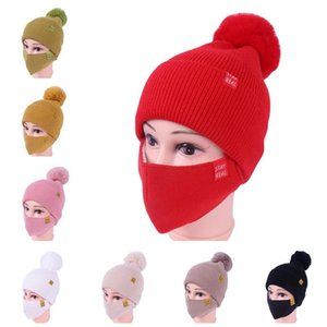 Máscara de malha feminina e chapéu Pompon Beanie com botão de máscara de rosto Botão Chapéu de inverno Chapéu Crânio Esqui ao ar livre Ciclismo Esporte Slouchy Headwear E111903