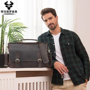 """ZZSLHL Genuine Leather Men Business Bag Fashion Brand Shoulder Bag Tote Messenger Causal Handbag 15""""Laptop Briefcase Male"""