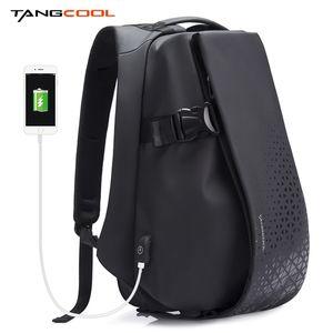 Tangcool Uomo Backpack di moda 17.3 pollici Zaino Laptop impermeabile Ricarica USB Zaino da esterno Zaino Daily School School Zack LJ200901