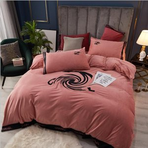 2021 Fall Winter Embroidered Baby Cashmere Four-piece Suit Letter Pattern Embroidered Pink Bedding Cover Sheet Pillowcase Suit