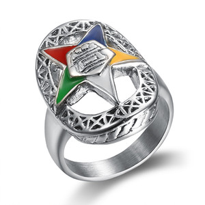 Stainless steel new trendy unique design silver order of the eastern star rings for ladies party band ring OES masonic jewelry for women