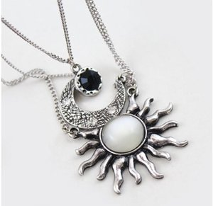 Vintage Bohemia Sun Moon Multilayer Chain silver plated Gold Big White Stone Pendant Necklace Delicate Crystal Zircon Collar