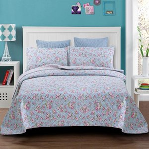 3PCS Washable Bedspread Cotton Air Conditioning Quilt Small Floral Cotton Quilted Quilt Thick Bed Cover King Queen Size Coverlet