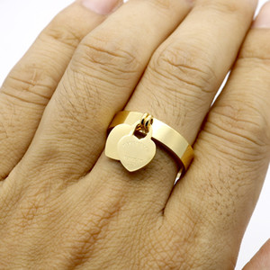 stainless Steel 18K gold plated heart ring famous Brand jewerly ring love cuff ring for woman man couple gift