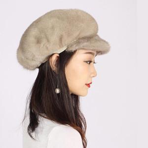 XINYUXIANG Luxury Fashion Baseball Cap Women winter Black gray Import Full pelt Beanies Skullies real fur Hats 1312B1