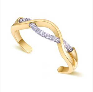 fashion vision Trendy bangles with real gold plated full crystal rope stainless bangle bracelet model no. NE955