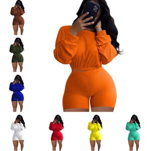 Женские весенние лето ребристые наряды 2 шт. Шорты набор плюс размер S-5XL Sportswear длинный рукав повседневная одежда набор Joggers Cousssuit H2204