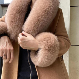 Winter Real fur collar scarves women's Natural fur cuffs Arm sleeve Female accessories Fashion Scarf cuff one set