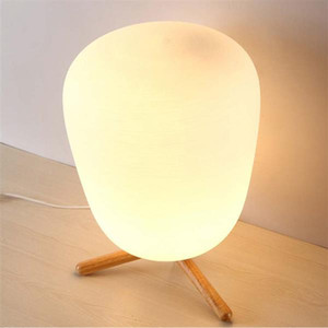 New functions E27 Ultra Modern Mini Fashion Frosted Glass Lampshade and Wooden Bracket Texture Study Table Lamp with Light Source US Plug