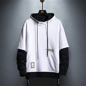 Patchwork Hoodie Sweatshirt Mens Autumn Hip Hop Cotton Pullover Hoodies Streetwear Japan Style Clothes colorblock hoodie 201124