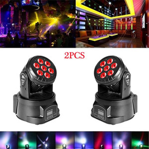80W 7-RGBW LED Auto   Voice Control DMX512 Mini Moving Head Stage Lamps (AC 110-240V) Black *2 High quality Stage Lighting
