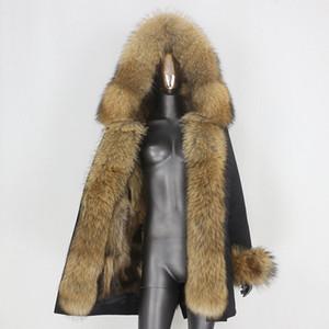 BLUENESSFAIR 2020 Длинные водонепроницаемый Parka Зимняя куртка женщин реального Шуба Natural Енот Fox Fur Верхняя одежда Streetwear Съемная