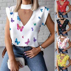 Designer Designer T-shirt senza maniche Senza maniche Allentati Casual Summer Top Floral Halter Womens Tshirts V Neck Sky Silide Farfalla
