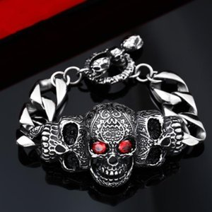 Vintage Gothic Stainless Steel Men Punk Skull Bracelet Bangle Jewelry Vintage Gothic Factory Store Office jllNfc