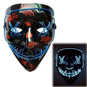 2020 New Halloween Carnival Party Costume Decoration Luminous LED Mask Halloween Mask LED Luminous Party Mask