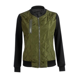 Fashion Women Patchwork Color Bomber Jacket Casual Mandarin Collar Flight Coat Zipper Stitching Quilted Outwear Plus Size 7Q2114