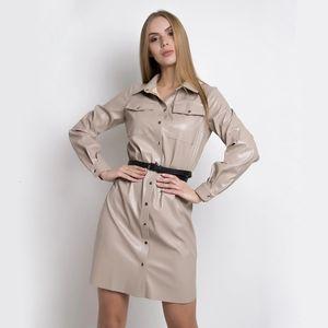 DABOURFEEL Moda PU Deri Kadın Casual Cepler Kemer Düğmesi Elbise Uzun Kollu Açılır Yaka Ofis Bayan Streetwear