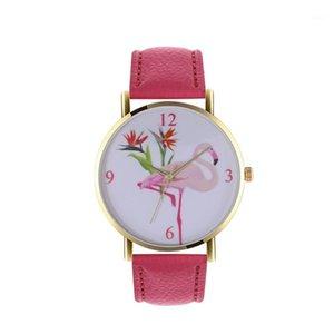 Wristwatches 2021 Rose Gold Flamingo Quartz Watches Watch For Women's Clock Bracelet Fashion PU Leather Femme Reloj1