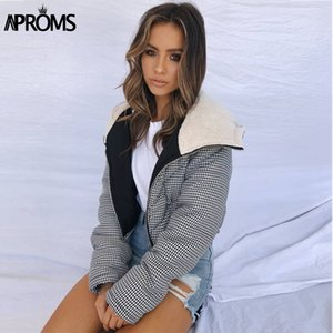 Aproms Elegant Plaid Hooded Parka Women Autumn Winter Zippers Female Cotton Padded Cropped Coat Ladies Warm Outwear Overcoats 201125