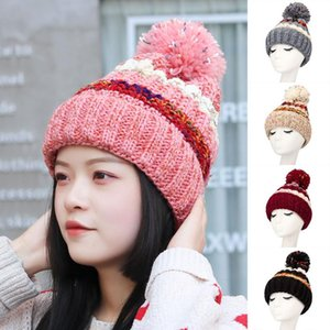 25# Warm Knitted Women's Hat Striped Winter Hats For Women Pompom Wool Beanies Thick Skullies Cap Faux Pom Pom Hat Gorras