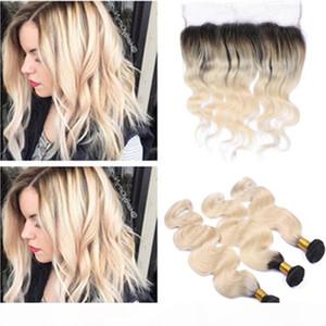 Body Wave # 1b 613 Bionda Ombre Brasiliana Vergine Natura dei capelli umani Bundles con 13x4 Chiusura frontale del pizzo Ombre Blonde Blonde Wefts con frontale