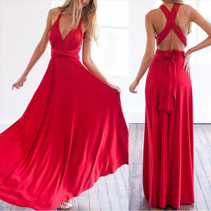 2020 Formal Dress Women Elegant Evening Long Deep V Halter Dress Convertible Multi Way Wrap Maxi Grecian Dresses Wedding Party