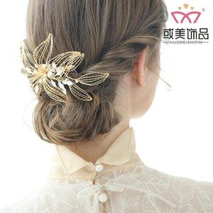Npason 2020 Bridal Fashion Frauen Braut Headwear Goldene Kupferdraht Manuelle Webart Haarkamm Perle Hochzeit Zubehör Neu S8175