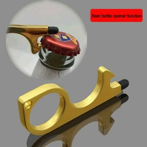 100pcs Door Opener No Contact Press Elevator Tool Metal Door Opener Touchscreen Door Handle Opener Tool Keychain With Silicone Head DHL Free