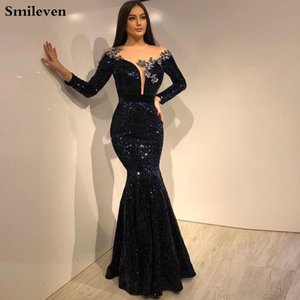 Del partido del vestido formal Smileven sirena vestido de noche de manga larga Negro lentejuelas vestido de bata de soiree sirena Prom Vestidos 201119