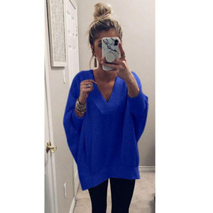 Casual Women Solid Pullovers Batwing Sleeve V-Neck Long Sleeve Knitted Lady Sweatshirt new and American Style