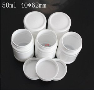 fast shipping50ml white plastic Powder Pill Butter Bottle keychain Refillable organizer Packaging Screw Lid jars Factory Free shipping