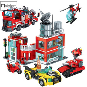 Mailackers City Fire Station Truck Helicopter Rescue Boat Building Block City Construction Vehicle Bricks Education Toys For Kid J1204