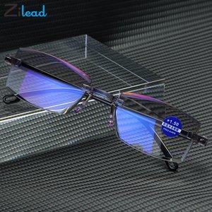 Zilaad Lettura Occhiali da uomo Anti Blue Rays PRESBYopia Occhiali da vista Computer AntiFaticing Frameless con + 1,5 + 2.0 +2,5 +3.0 +3,5 +4.0